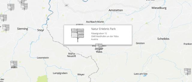 Garteneintrag, Visitenkarte auf der Map
