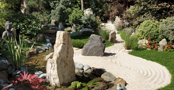 Gestaltungselemente des Zen Gartens