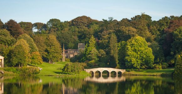 Lake and bridge at Stourhead park in Wiltshire